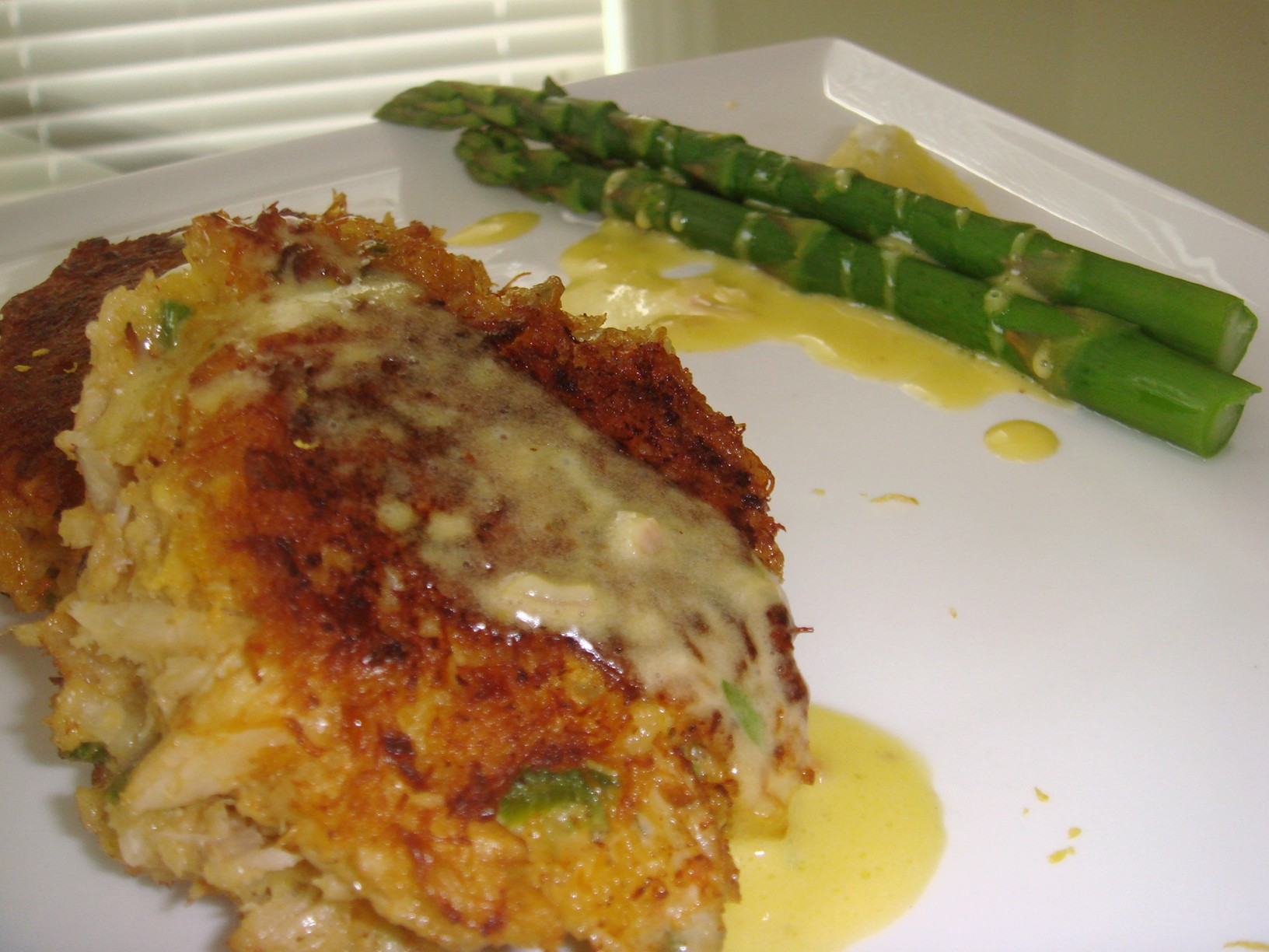 ... crab cake with blanch asparagus and drizzle some bearnaise sauce